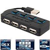 Hub USB 2.0 de 4 puertos Sabrent con interruptores individuales de poder y LEDs de funcionamiento.