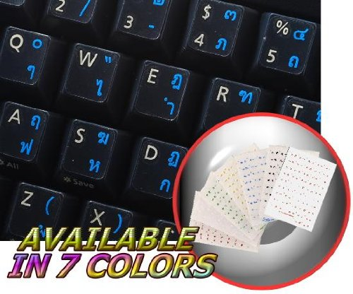 THAI KEYBOARD STICKERS WITH BLUE LETTERING ON TRANSPARENT BACKGROUND FOR DESKTOP, LAPTOP AND NOTEBOOK