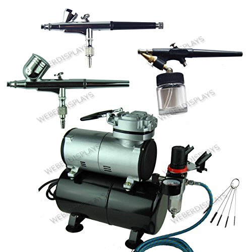 New Pro 3 Airbrushes (2 Dual-Action Air Brush) and Air Compressor with Tank Kit with Regulator and Pressure Gauge, Braided Hose, Holder For Art Tattoo Nail