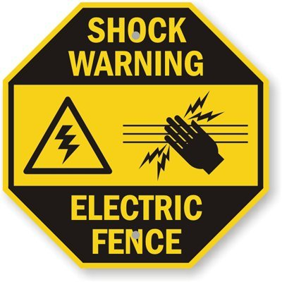 """Electric Fence With Graphic Sign, 12"""" X 12"""""""