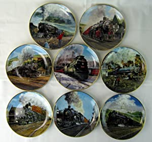Great American Trains - Danbury Mint Collector Plates Complete Set of 8 From 1991 By Jim Deneen