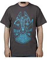Star Wars Blue Glow in the Dark Falcon Mens Soft Black Hand Tee
