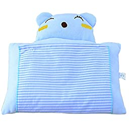 Baby Pillow Prevent Flat Head Bedding Cartoon Lovely Bear Design for Newborn 0~12 months (Light Blue)