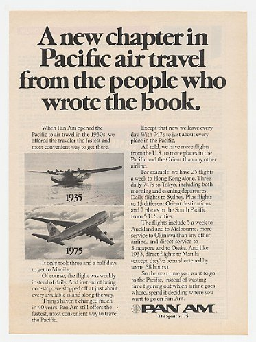 1975 Pan Am Airlines Pacific Air Travel 1935 vs 1975 Print Ad (22823)