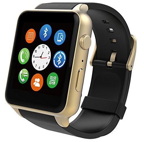 PowerLead GT88 Rain Resistant Heart Rate Monitor Bluetooth Smartwatch Perfectly Compatible with IOS&Android System Smartphone-gold color