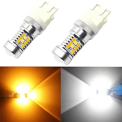 Alla Lighting 3157 Newest LED Switchback 2835 28-SMD High Power Dual Color White Amber Xtremely Super Bright LED Lights Bulbs for Turn Signal Lights 3457 4157NA (02 Camaro Signal Lights compare prices)
