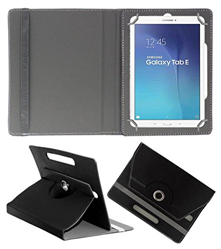 Acm Rotating 360° Leather Flip Case For Samsung Galaxy Tab E T561 Tablet Stand Cover Holder Black