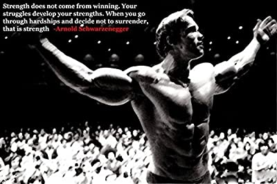 "Tomorrow sunny ARNOLD SCHWARZENEGGER Silk Poster Motivational Bodybuilding Picture 24x36"" 13"