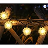 LELLEL 2nd Generation Outdoor Twinkle Lights, 2nd Generation Solar LED String Light, 50 Count Chuzzle Ball 30 Feet 8 Dimmable Mode, for Patio Garden Yard Tree Party Decoration, Warm White