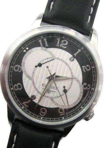 Elysee 67010 - Reloj analógico de cuarzo para hombre con correa de piel, color negro