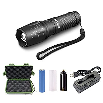 Handheld Led Flashlight of 1000 Lumen,Gree Xml-T6 Water Resistant Camping Torch Adjustable Focus Zoom Tactical Flashlight lamp for Outdoor,Chareger and 18650 battery included