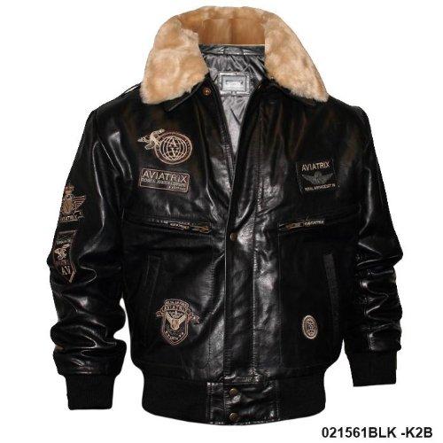 Mens Classic Black Leather Flight Jacket Badge K2B Size XXL - Double Extra Large