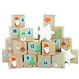 DIY Adventskalender Kisten Set - Weihnachtsmann - 24 bunte Kisten zum Aufstellen und zum selber Befüllen - 24 Boxen