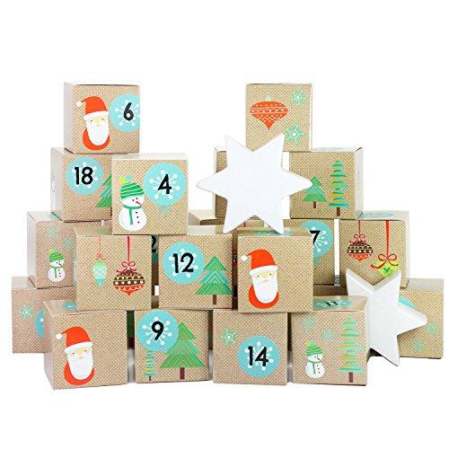 diy adventskalender kisten set weihnachtsmann 24 bunte kisten zum aufstellen und zum selber. Black Bedroom Furniture Sets. Home Design Ideas