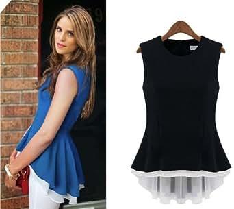 Aokin Women Chiffon Slim Sleeveless High Low Shirt Tops Blouse (S, Black)