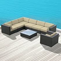 Hot Sale Luxxella Outdoor Patio Wicker DUXBURY Light Beige Sofa Sectional Furniture 8pc All Weather Couch Set