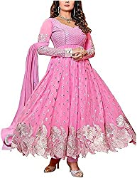 Shiv Fab Women's Georgette Unstitched Dress Material (Pink)