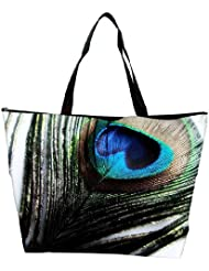 Snoogg Peacock Feather Background Waterproof Bag Made Of High Strength Nylon