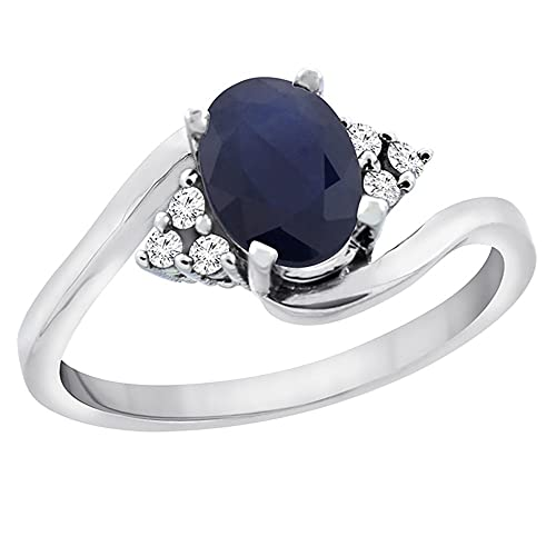 Revoni 14ct White Gold Natural Blue Sapphire Ring Oval 7x5mm Diamond Accents