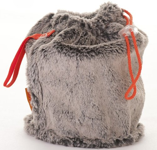 Faux Fur Small GoKnit Pouch Project Bag w/ Loop & Drawstring by KnowKnits