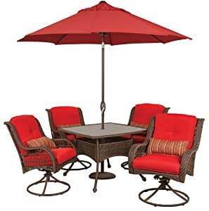 Ideal Here you will find Bella Vista Piece Patio Furniture Dining Set with Umbrella and Base Wicker Brick Red by La Z Boy Outdoor