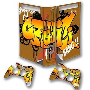 Graffiti 10066, Graffiti Splash, Wrap Around Autocollant Skin Sticker de Protection Peau Vinyl Decal avec Motifs Colorés et Effet de Cuir pour Xbox 360 Fat Set Console de Jeu avec deux Controllers.