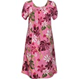 MuuMuu House Dress - Tahitian Floral Lei Petal Sleeves Caftan Kaftan Hawaiian Aloha Pullover Cotton Lounger - Regular and Plus Size