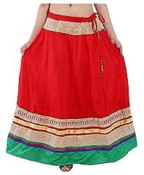 Magnus Women's Long Skirt (SKT456, Red, M)
