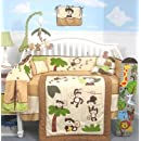 Soho Curious Monkey Baby Crib Nursery Bedding Set 13 Pcs Included Diaper Bag With Changing Pad Bottle Case