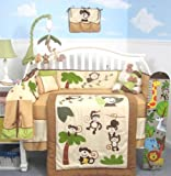 SoHo Curious Monkey Baby Crib Nursery Bedding Set 13 pcs included Diaper Bag with Changing Pad & Bottle Case thumbnail