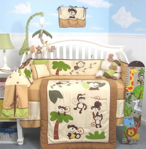 SoHo Curious Monkey Baby Crib Nursery Bedding Set 13 pcs included Diaper Bag with Changing Pad & Bottle Case