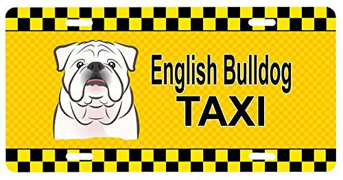 Carolines Treasures BB1344LP White English Bulldog Taxi License Plate (Dog Taxi License Plate compare prices)