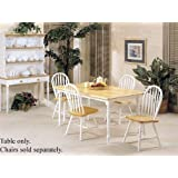 Farmhouse Natural and White Solid Wood Dining Table