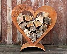 Corazón Estante de madera de verrostetem Metal, Patina Decoración para Su Jardín y Terrase