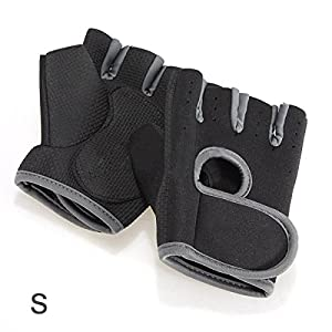SODIAL(R) NEW Sport Cycling Fitness GYM Half Finger Gloves Weightlifting Exercise Training - Black with gray edge S from SODIAL(R)