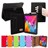 Snugg Black Leather iPad Mini & Mini 2 Retina Case with Lifetime Guarantee - Flip Stand Cover with Auto Wake/Sleep, Elastic Hand Strap & Protective Premium Nubuck Fibre Interior for the Apple iPad Mini and Mini 2 with Retina