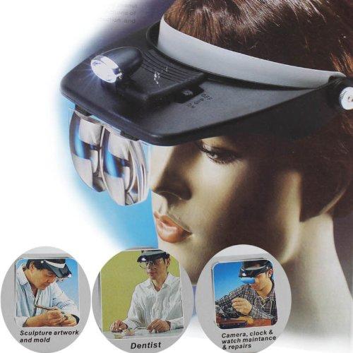 Kingzer Headband Headset Led Head Lamp Light Jeweler Head Magnifier Magnifying Glass Loupe