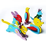 Elfe Boutique 3D Crystal Puzzle Blocks Assembly Puzzle Kid's Toy Lovely Gift for Children Adult Special Birthday Present Christmas Gift Come with Random 3D Animal Wooden Puzzles - Blue Bird