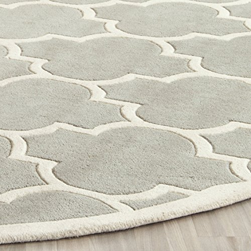 Safavieh Chatham Collection CHT733E Handmade Grey and Ivory Wool Area Rug, 6 feet by 9 feet (6' x 9')