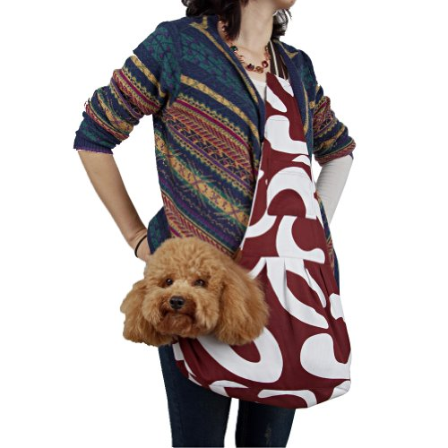 Outward Hound New Pet Sling-style carrier Dog Cat sling Bag Stylish Brown and White Art Pattern-Medium Size