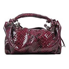 MNL01 Stunning Red Oversize Embossed Reptile Print Handbag