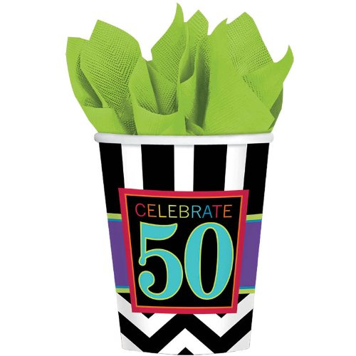Amscan Cheerfully Colorful Printed Cups in 50's Celebration Theme, Black/White/Cyan Blue/Violet, 9 oz
