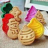 ElecMotive 4 teilige Weihnachts-Plätzchenausstecher Cookie Cutters Plätzchenformen Backformen Fondant Keks Ausstechformen Set mit Auswerfer Farbe zufällig gesendet in Geschenkkarton in Geschenkkarton