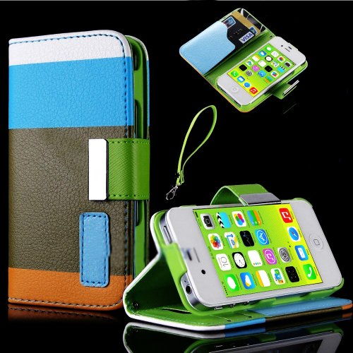 Mylife (Tm) Easter Color Block Design - Textured Koskin Faux Leather (Card And Id Holder + Magnetic Detachable Closing) Slim Wallet For Iphone 5/5S (5G) 5Th Generation Itouch Smartphone By Apple (External Rugged Synthetic Leather With Magnetic Clip + Inte