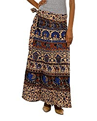Fashiana Women Brown Multi Colored Long Wrap Around Skirt