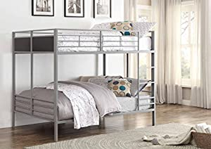Homelegance B2033FF-1 Full/Full Folding Metal Bunk Bed, Grey