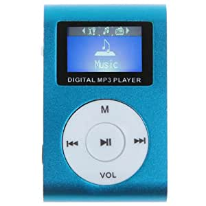 Rechargeable Micro SD Card Reader FM Digital MP3 Player LCD Display Metal Clip Blue