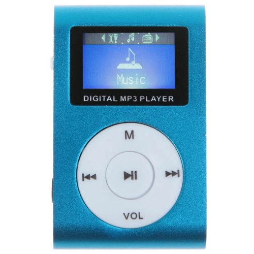 Tingvan Portable Lcd Display Metal Clip Rechargeable Micro Sd Card Reader Fm Digital Mp3 Player Blue