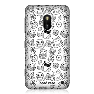 Head Case Designs Flowers and Leaves Doodle Owl Hard Back Case Cover for Nokia Lumia 620