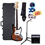 Fender Starcaster J Electric Bass Guitar Bundle with Hardshell Case, 10-Watt Amp, Stand, Tuner, Strap, Picks, and Polishing Cloth - 3-Tone Sunburst